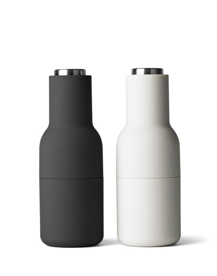 Menu Ash & Carbon BOTTLE GRINDERS with Steel Tops  (set of 2): A pack of 2 high-performing grinders that inverts traditional salt and pepper mills by putting the ceramic grinding mechanism at the top. No more residue of salt and pepper gathering on tables. The top lets you adjust the required coarseness from fine to coarse.