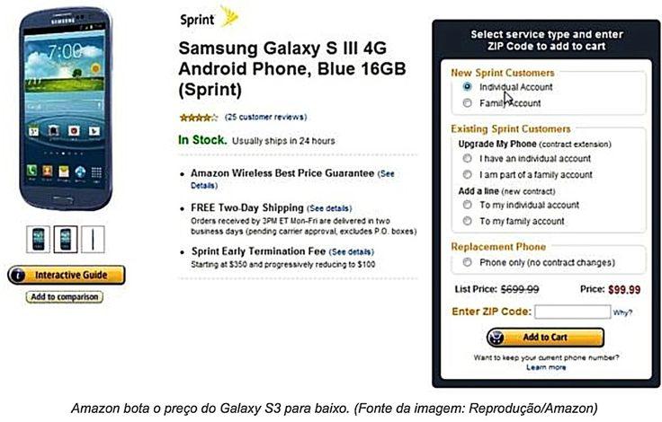 Chegada no IPHONE 5, faz o preço do Sansung Galaxy S3 despencar, sendo vendido à  US$ 99 nos EUA. O mundo se volta novamente para a APPLE, afinal, dois grandes lançamentos. MINI IPAD E IPHONE 5. Brasil Lyzzy, a APPLE da Cosmética.