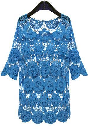 Blue Half Sleeve Hollow Out Crochet Short Dress