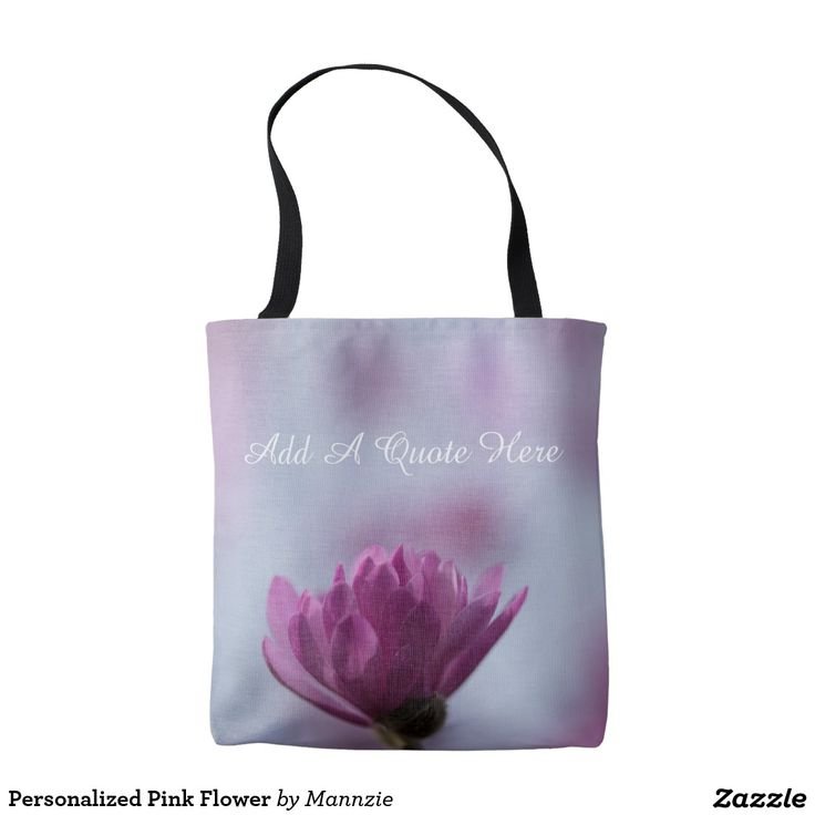 Personalized Pink Flower Tote Bag