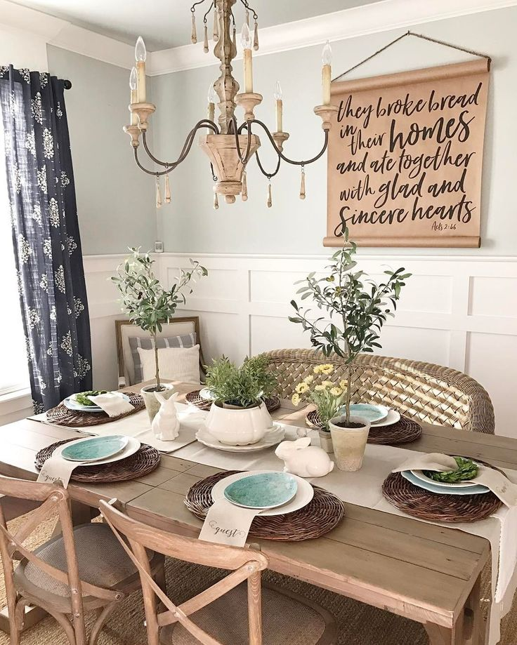 Love This Simple Wall Hanging Wainscoting Curtains Table Kinda Busy