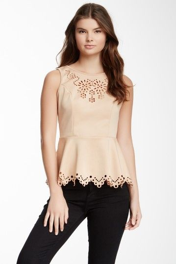 Romeo & Juliet Couture Laser Cutout Peplum Tank by Non Specific on…