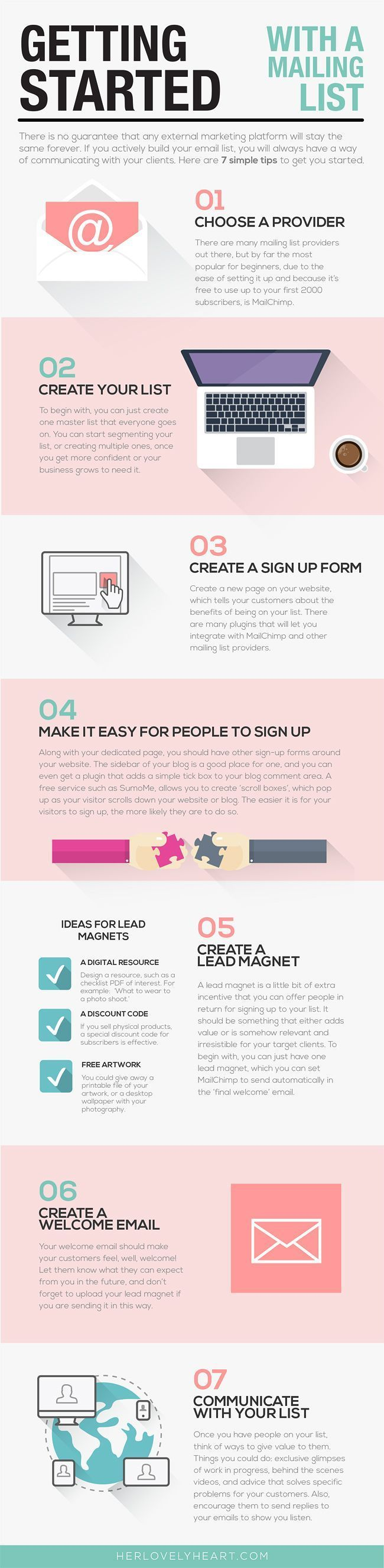 Infographic: how to get started with setting up your email list. Click through to download a free mailing list content worksheet.: