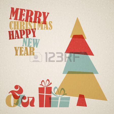 Retro Tarjeta de Navidad con el árbol y cajas de regalos Foto de archivo