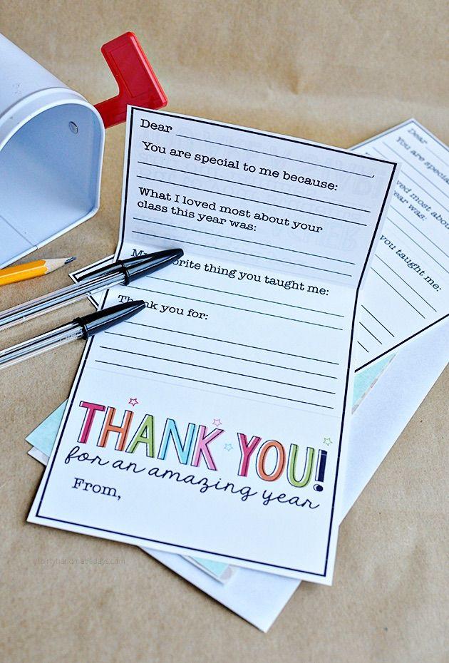 Teacher appreciation printables: Thirty Handmade Days card and gift card holder