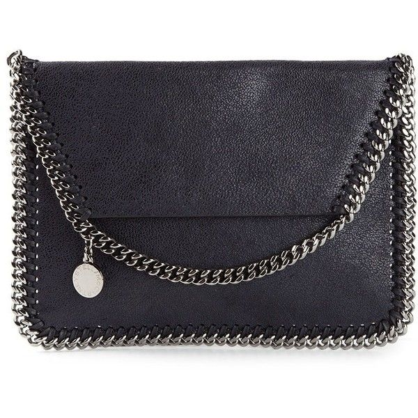 Stella McCartney 'Falabella Shaggy Deer' Foldover Shoulder Bag ($645) ❤ liked on Polyvore featuring bags, handbags, shoulder bags, foldover handbags, chain strap purse, stella mccartney shoulder bag, navy handbags and navy blue handbags