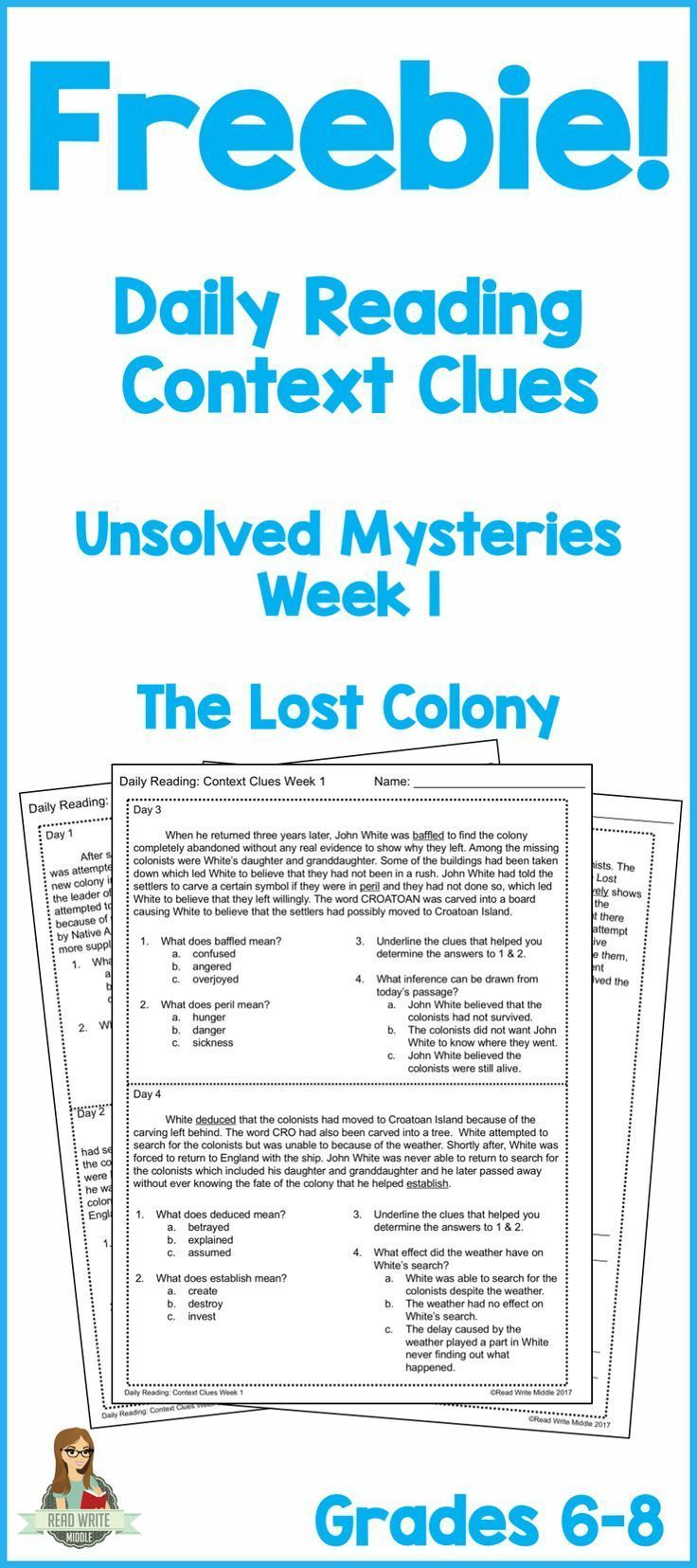 Five daily reading passages about The Lost Colony with context clues practice. Two daily context clues questions! Great test prep!