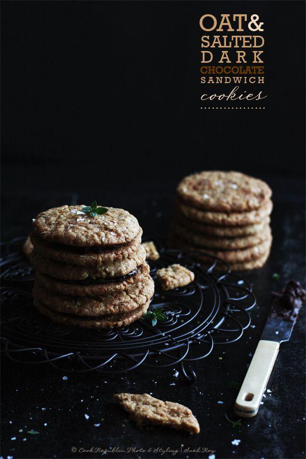 {Salty bittersweet chocolate surrounded by crispy oat cookies. Heaven.} Oat & Salted Dark Chocolate Sandwich Cookies | Cook Republic