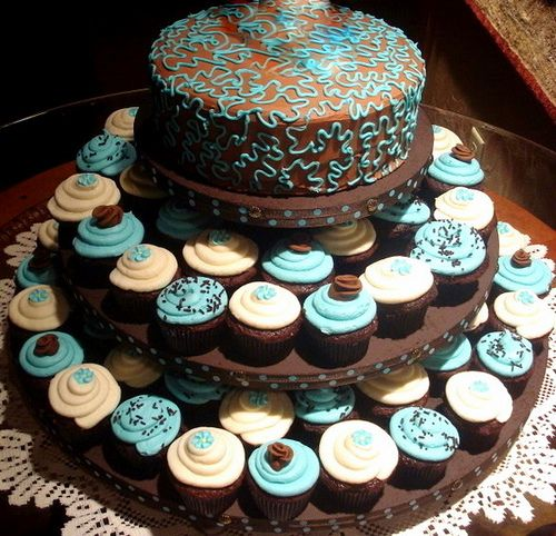 Chocolate, Cream and Tiffany Blue Cupcake Tower
