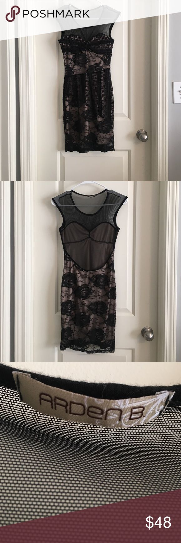 Little black lace dress Lace dress, see through shoulders and back. Worn once. Arden B Dresses Mini