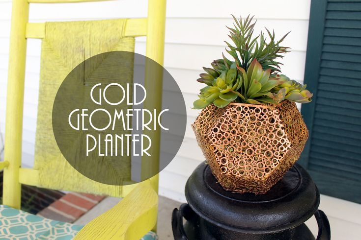 Make this gold geometric planter for your home from a candle holder. A quick and easy 5 minute project that will look great on your porch!