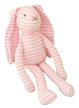 LANKY BUNNY TOY RATTLE 30CM PINK WHITE