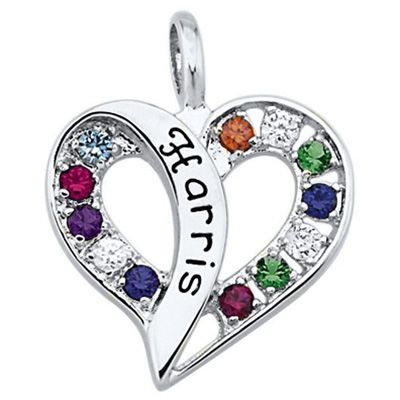 Sterling Silver Passionate Simulated Birthstone Heart Pendant by ArtCarved® (1 Name and 12 Stones)