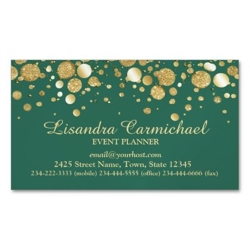 MAGNETIC... Gold Foil Confetti On Green Magnetic Business Card