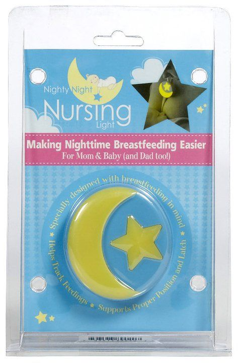 Nighty Night Nursing Light - Goes on your bra strap; gives you enough light to see to nurse and change the baby without waking them; has optional vibrating alarm to alert you when to feed the baby or stop nursing; also works to keep track of which side you are on by switching straps each feeding!