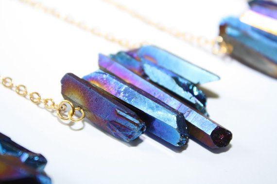 Titanium Quartz Spike Necklace Raw Quartz Necklace Raw Crystal Necklace Five Point Spike Necklace