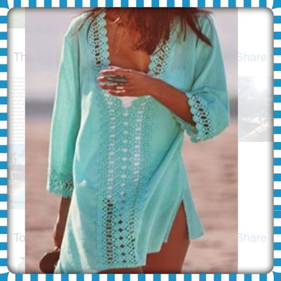 Turquoise Long Sleeves Deep V-neck Crochet Trim Casual Cover-up    *Please see dimensions below*    Features:    Let your favorite swimwear peak