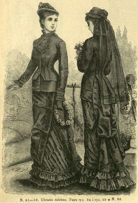 Stroje żałobne, 1879   Mourning outfts, 1879