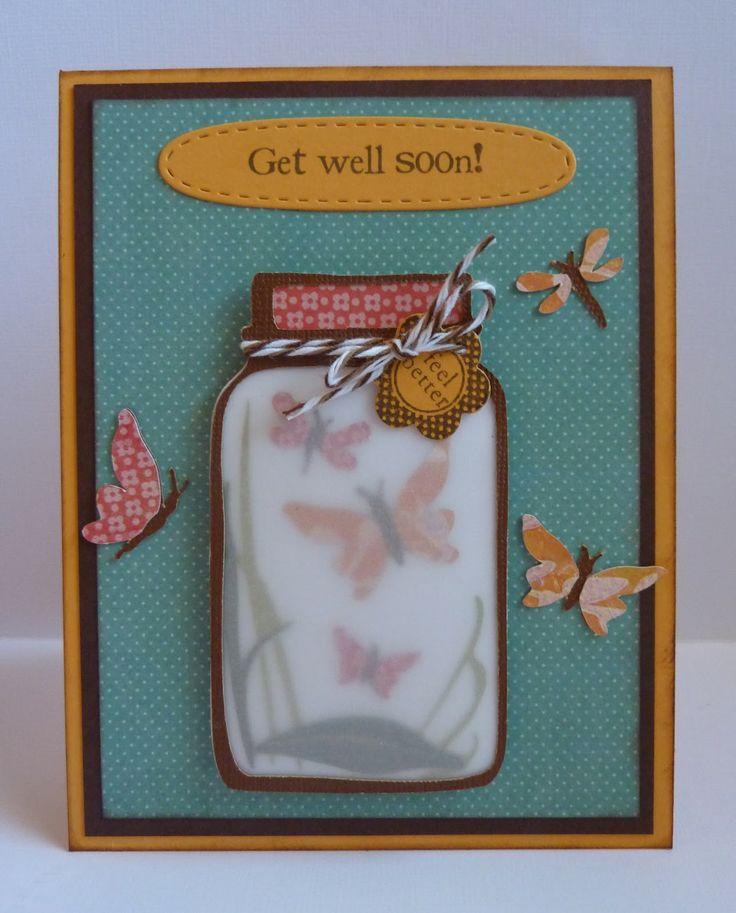 Get Well Butterfly Jar card