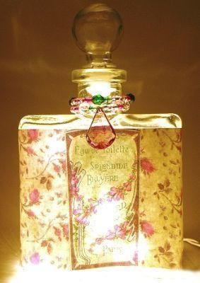 #9 Shabby Roses Perfume Bottle Nightlight ( Night Light ) - Roses And Teacups