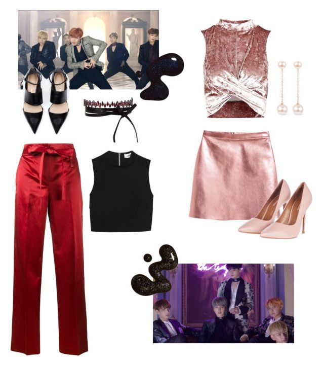 """bts-blood, sweat, & tears"" by jxnnarxse ❤ liked on Polyvore featuring Topshop, Helmut Lang, Elizabeth and James, Fallon and Noa"