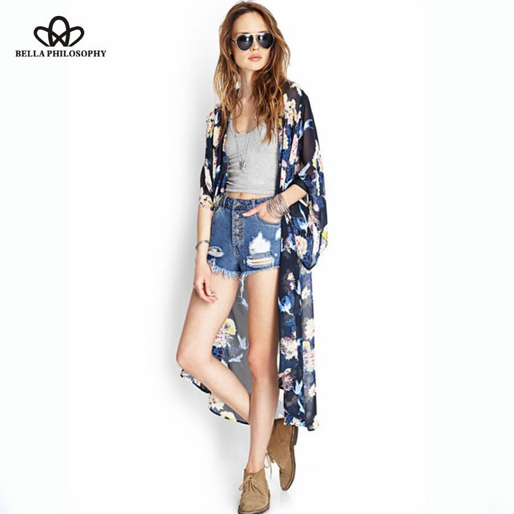Spring summer Europe new women's fashion flower foral print long kimono Cardigan navy blue
