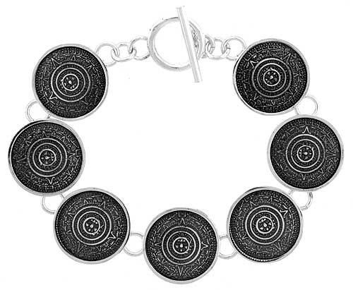Sterling Silver Aztec Calendar Bracelet w/ Toggle Clasp 3/4 inch (21 mm) wide, 8 inch (20.4 cm) Sabrina Silver. $194.26