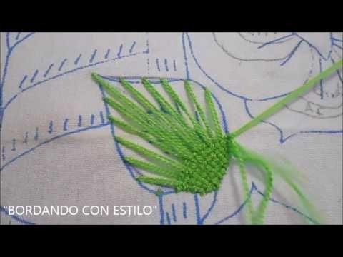 Puntada fantasia hoja niña rosa y red (repeticion) - YouTube