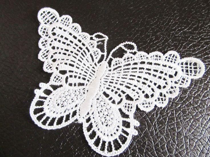 applique dentelle papillon couleur blanc à coudre 13 x 7.5 cm : Rubans par sylvia21