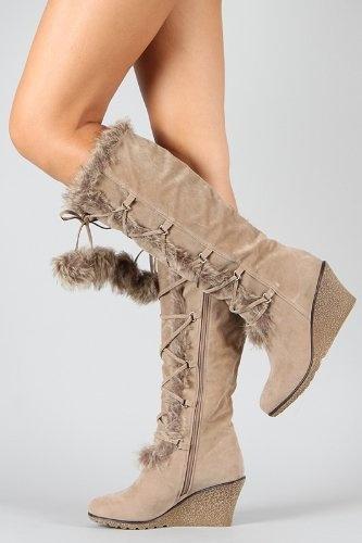 Taupe Pom Pom Fur Lace Up Wedge Boot Vegan Fourever Funky, http://www.amazon.com/dp/B006JTUQVO/ref=cm_sw_r_pi_dp_l0ZLqb14XYM3S