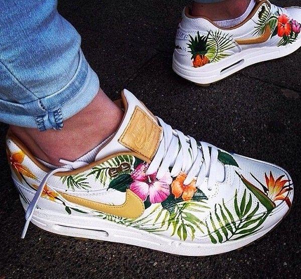 Shoes: tropical white air max nike tropical print