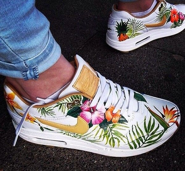 Shoes: tropical white air max nike tropical print Like where in philly are these for sell please let me kno #philly #airmax