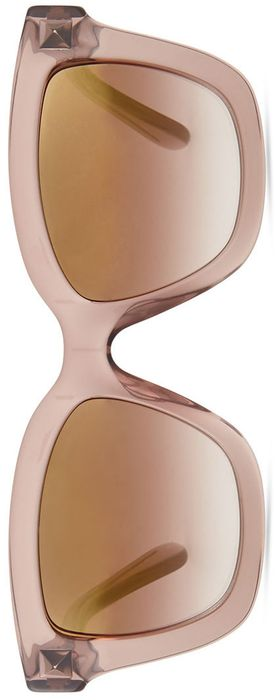 Valentino Rockstud Square Mirror Sunglasses, Nude