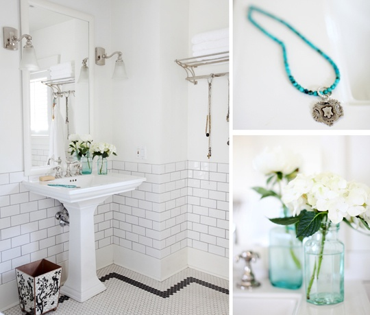 Pin by Ashley Lewis on For the Home | Pinterest - Black And White Penny Tile Bathrooms