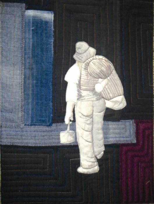 Icon – Once a Jolly Swagman by Barb Kukulies. Now a ghost of the past, the swagman walked from property to property with his 'Wagga' on his back, looking for work as a sheep shearer or a farmhand. Our unofficial National Anthem 'Waltzing Matilda' is all about this image.