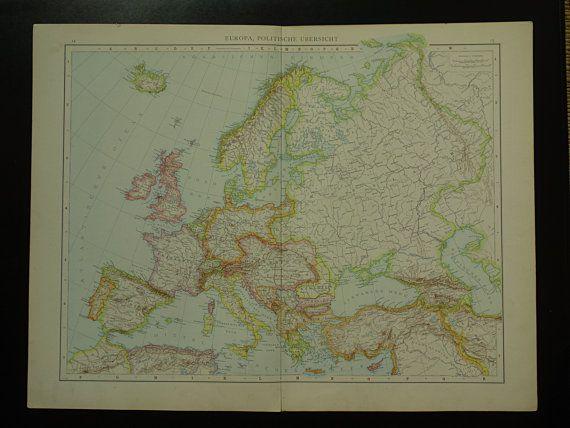 EUROPE old map of Europe LARGE 1887 original by VintageOldMaps
