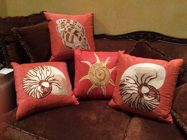 Neiman Marcus Shell Pillows Summer Decorating - Embroidered Beach Decor in Cresson, TX (sells for $35)