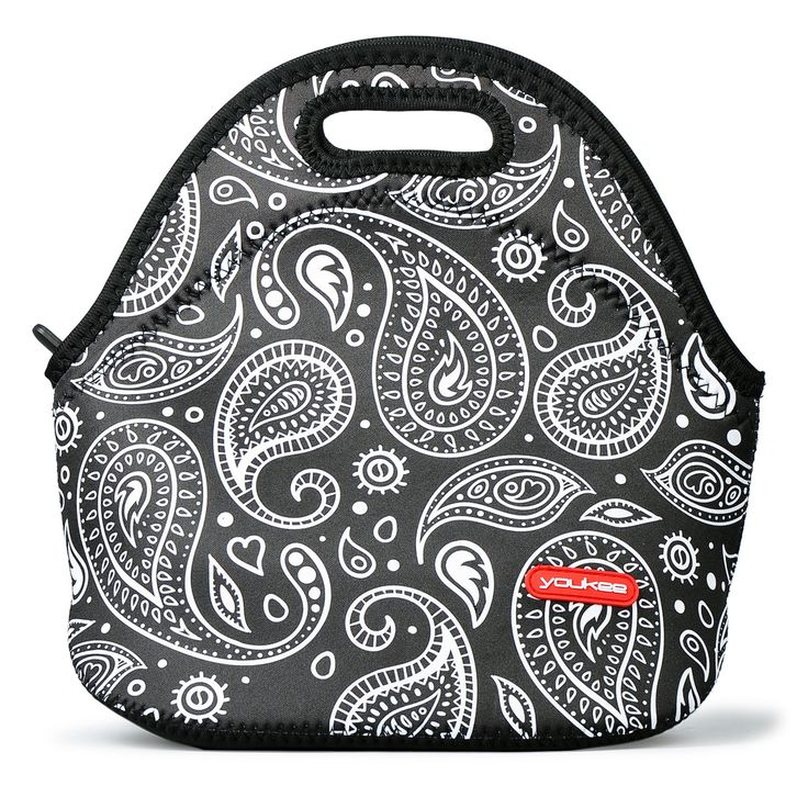 Neoprene Lunch Tote, YOUKEE Reusable Insulated Thermal Lunch Bag for Kids Adults Men Women Boys Girls Students Office Worker, Paisley