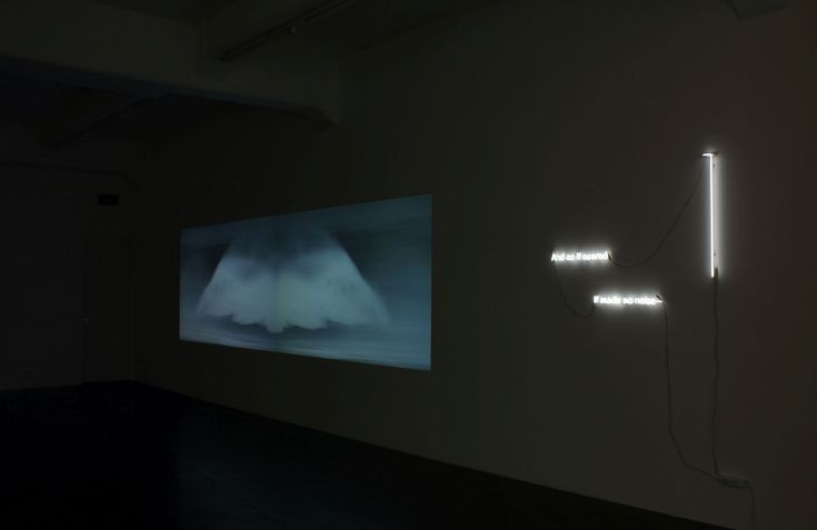 Alex Monteith, Shadow V, 2016, two channel video with stereo audio, neon and paper, edition of 3