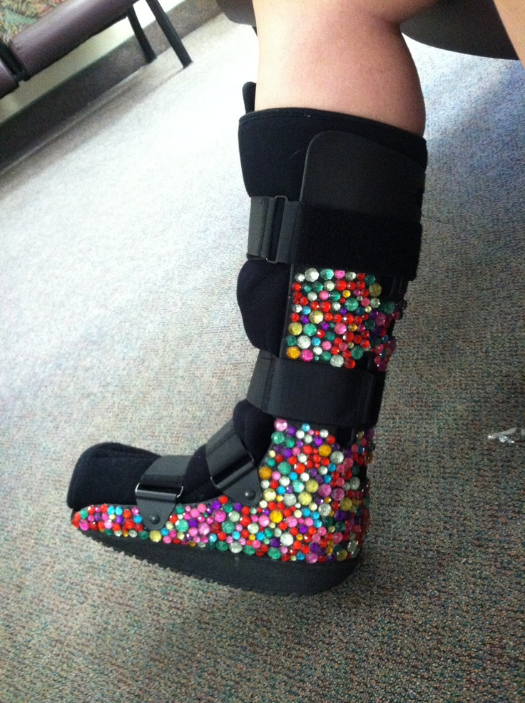 Steph made this bedazzled boot!!!! Only my daughter with ...