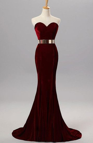 Burgundy Mermaid Sweetheart Evening Gowns with Belt Velvet Simple Formal Occasion Dress_Wedding Dresses | Prom Dresses | Evening Formal Gowns