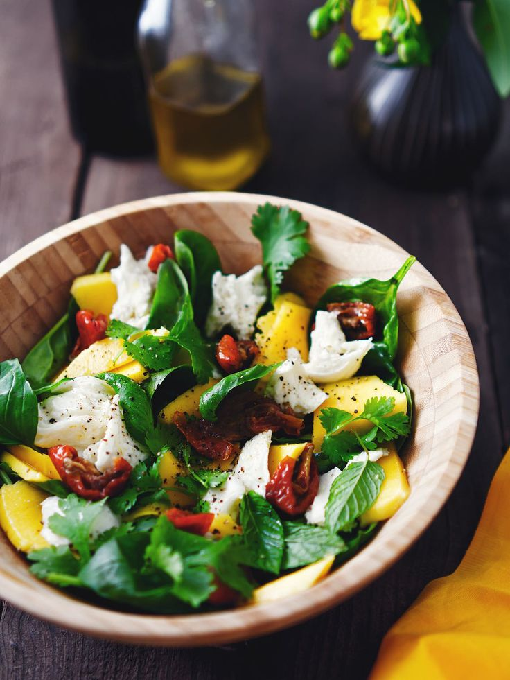Here is the perfect healthy summer salad recipe from Jason Vale Juice Master 'Mozzarella, Mango & Sun Blushed Tomato On A Bed Of Fresh Herbs'. Yum!  #recipe #saladrecipe