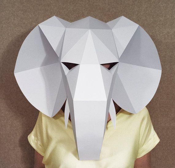 Elephant head mask DIY Paper creation PDF pattern printable mask Animal head…