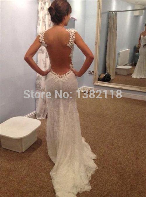 MANSA CALIENTE sirena vestido de novia 2014 bata de encaje sin espalda vestido de novia mariage