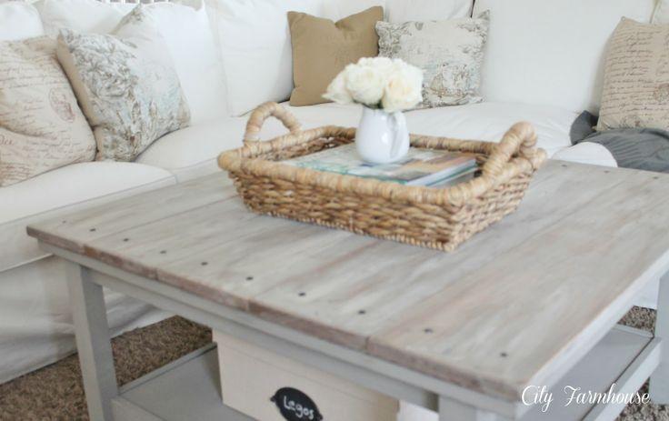 Ikea coffee table hack / beachy hamptons look