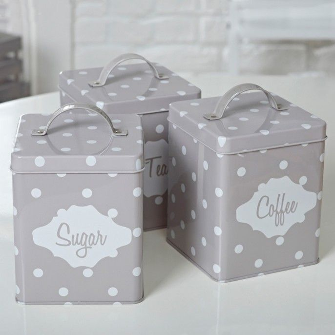 VINTAGE STYLE SUGAR, TEA, & COFFEE CANISTERS - Home & Furniture | Poundstretcher