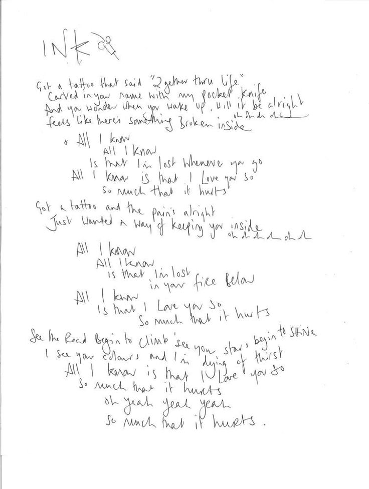 Ink handwritten by Chris Martin
