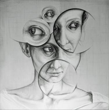 Buy Who am I..?, a Graphite on Canvas by Andy Butler from United Kingdom. It portrays: Portrait, relevant to: portrait, realism, woman, drawing, face, abstract pencil drawing on canvas