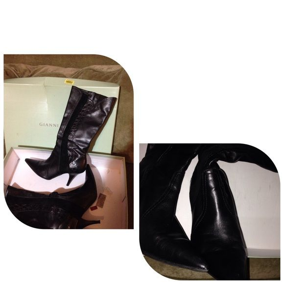 Ladies Leather Boots Black Leather Boots Gianni Bini Shoes Heeled Boots