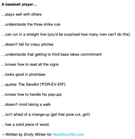 reasons for dating a softball player